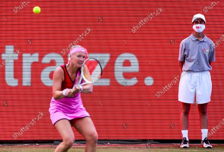 Kiki Bertens of the Netherlands in action against Petra Kvitova of the Czech Republic during their semifinal match at the bett1ACES tennis tournament held at the Steffi-Graf-Stadium in Berlin, Germany, 14 July 2020. The tournament will be held under strict hygiene restrictions made to cope with the spread of the Coronavirus SARS-CoV-2 which causes the COVID-19 disease.