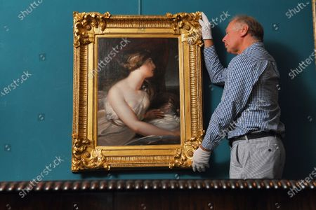 Editorial photo of Admiral Lord Nelson's mistress Lady Hamilton painting, Wick Antiques Lymington, UK - 06 Jul 2020