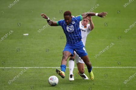 Stock Picture of Matthew Pennington of Hull City and Jamal Lowe of Wigan Athletic