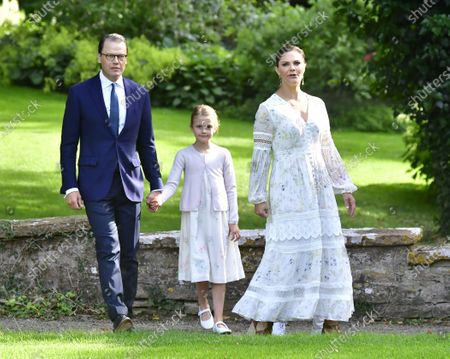 Prince Daniel, Crown Princess Victoria and Princess Estelle at Crown Princess Victoria's birthday celebrations at Solliden Palace