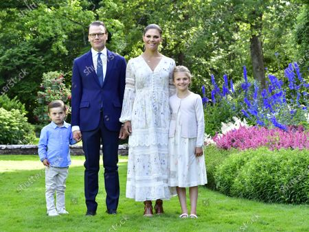 Prince Oscar, Prince Daniel, Crown Princess Victoria and Princess Estelle at Crown Princess Victoria's birthday celebrations at Solliden Palace