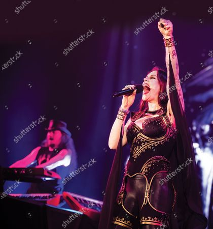 Vocalist Floor Jansen of Finnish symphonic metal group Nightwish performing live on stage at Wembley Arena in London.