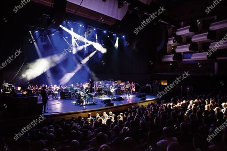 English progressive rock musician Steve Hackett performing live on stage at the Royal Festival Hall in London.