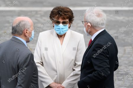 Jacques Toubon, French Culture and Communication minister Roselyne Bachelot and bernard Emie. French President Emmanuel Macron and the french government attend the Bastille day military parade at place de la Concorde.