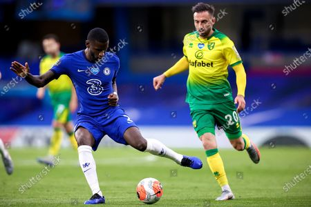 Stock Image of Chelsea's Antonio Ruediger (L) in action against Norwich's Josip Drmic (R) during the English Premier League soccer match between Chelsea FC and Norwich City in London, Britain, 14 July 2020.