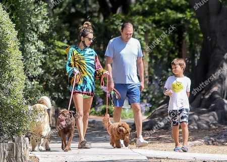 Stock Image of Alessandra Ambrosio walks her dogs with her son Noah Phoenix Mazur