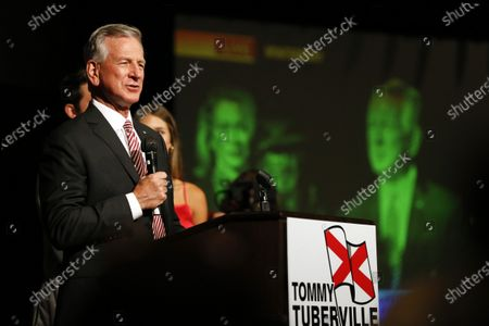 Former Auburn football coach Tommy Tuberville speaks to supporters after defeating former U.S. Attorney General Jeff Sessions in the runoff election, in Montgomery, Ala
