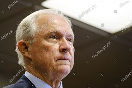 Former United States Attorney General Jeff Sessions prepares to give remarks after losing the run-off election for the Republican Senate nomination for Alabama to Tommy Tuberville in Mobile, Alabama, USA, 14 July 2020. Tuberville will run against incumbent Democratic Senator Doug Jones during the general election in November 2020.
