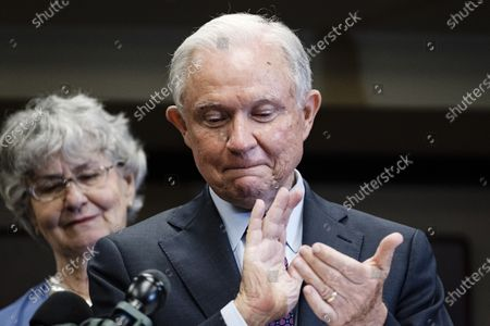 Former United States Attorney General Jeff Sessions (R), accompanied by his wife Mary Blackshear Sessions (L), reacts after losing the run-off election for the Republican Senate nomination for Alabama to Tommy Tuberville in Mobile, Alabama, USA, 14 July 2020. Tuberville will run against incumbent Democratic Senator Doug Jones during the general election in November 2020.