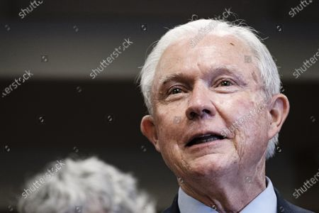 Former United States Attorney General Jeff Sessions gives remarks after losing the run-off election for the Republican Senate nomination for Alabama to Tommy Tuberville in Mobile, Alabama, USA, 14 July 2020. Tuberville will run against incumbent Democratic Senator Doug Jones during the general election in November 2020.