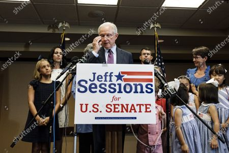 Former United States Attorney General Jeff Sessions (C-L) is surrounded by his family as he gives his concession speech after losing the run-off election for the Republican Senate nomination for Alabama to Tommy Tuberville in Mobile, Alabama, USA, 14 July 2020. Tuberville will run against incumbent Democratic Senator Doug Jones during the general election in November 2020.