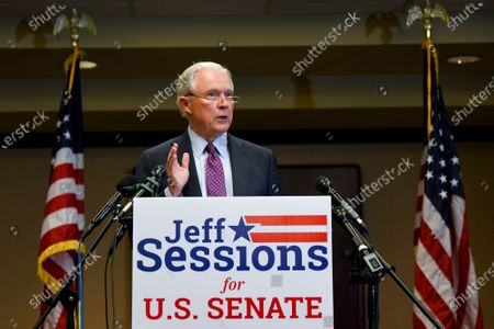 Former U.S. Attorney General Jeff Sessions delivers his concession speech after results are announced in the Alabama GOP primary runoff election, in Mobile, Ala