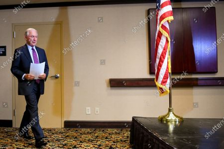 Stock Photo of Former U.S. Attorney General Jeff Sessions arrives to deliver his concession speech after results are announced in the Alabama GOP primary runoff election, in Mobile, Ala