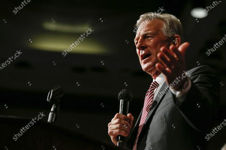 Stock Image of Former Auburn coach, Tommy Tuberville, speaks to supporters after he defeated Senator Jeff Sessions in the runoff election on Tuesday, July 14, in Montgomery, Ala