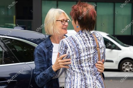 Former Minister for Women Anne Milton (r) embraces former MP Margot James as she is dropped off at Southwark Crown Court . It is not known whether she is involved in the Charlie Elphicke case.