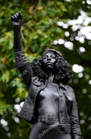 'A surge of Power (Jen Reid) 2020', a new statue by artist Marc Quinn, stands on the empty plinth of the toppled statue of 17th century slave trader Edward Colston, which was pulled down during a Black Lives Matter protest in Bristol.