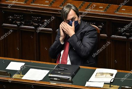 Vincenzo Amendola, Italian Minister for Relations with European Union, wearing a face mask, speaks on a mobilephone as he attends a session of the Chamber of Deputies (Camera dei deputati) in Rome, Italy, 15 July 2020.
