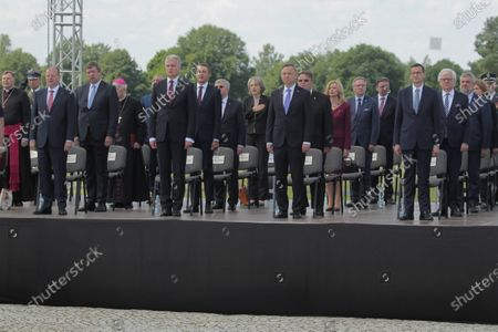 Polish President Andrzej Duda (10L), President of the Republic of Lithuania Gitanas Nauseda (6L), Lithuanian Prime Minister Saulius Skvernelis (3L) and Polish Prime Minister Mateusz Morawiecki (5R) during a ceremony marking 610 anniversary of the Battle of Grunwald in the fields of Grunwald in Stebark, Poland, 15 July 2020. The Battle of Grunwald (aka the First Battle of Tanneberg) took place on 15 July 1410 between the Kingdom of Poland and the Grand Duchy of Lithuania against the Knights of the Teutonic Order, led by the Grand Master Ulrich von Jungingen. It is regarded as one of the most important battles in Polish history.