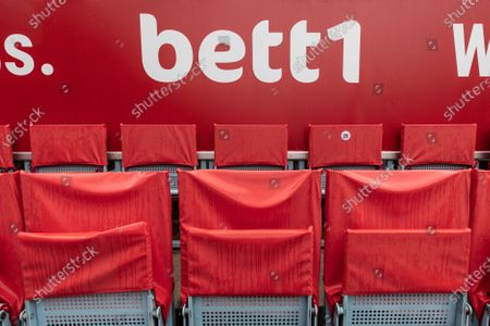 Covered seats on a tennis court for the bett1ACES tennis tournament due to the rain at the Steffi-Graf-Stadium in Berlin, Germany, 15 July 2020. All matches including the men's and women's finals are currently postponed  due to the weather conditions.