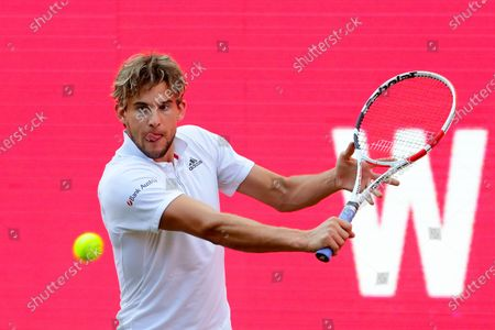 Dominic Thiem of Austria in action against Matteo Berrettini of Italy during their men's final match at the bett1ACES tennis tournament at the Steffi-Graf-Stadium in Berlin, Germany, 15 July 2020. The tournament will be held under strict hygiene restrictions made to cope with the spread of the Coronavirus SARS-CoV-2 which causes the COVID-19 disease.