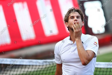 Dominic Thiem of Austria reacts during the men's final match against Matteo Berrettini of Italy at the bett1ACES tennis tournament at the Steffi-Graf-Stadium in Berlin, Germany, 15 July 2020. The tournament will be held under strict hygiene restrictions made to cope with the spread of the Coronavirus SARS-CoV-2 which causes the COVID-19 disease.