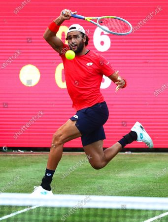 Matteo Berrettini of Italy in action against Dominic Thiem of Austria during their men's final match at the bett1ACES tennis tournament at the Steffi-Graf-Stadium in Berlin, Germany, 15 July 2020. The tournament will be held under strict hygiene restrictions made to cope with the spread of the Coronavirus SARS-CoV-2 which causes the COVID-19 disease.