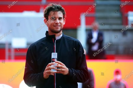 Dominic Thiem of Austria holds his trophy after winning the men's final match against Matteo Berrettini of Italy at the bett1ACES tennis tournament at the Steffi-Graf-Stadium in Berlin, Germany, 15 July 2020. The tournament will be held under strict hygiene restrictions made to cope with the spread of the Coronavirus SARS-CoV-2 which causes the COVID-19 disease.