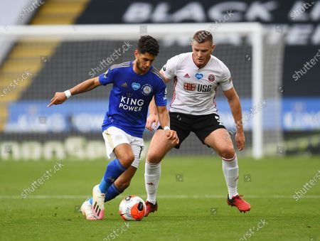 Ayoze Perez of Leicester City and Jack O'Connell of Sheffield United