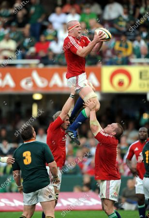 Lions captain Paul O'Connell wins a line out with the help of Gethin Jenkins and Tom Croft