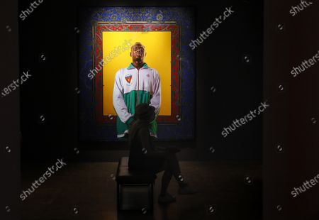 An artwork by US artist Kehinde Wiley is displayed in the exhibition 'Painter of the Epic' at the Malmaison museum in Cannes, southern France, 15 July 2020.