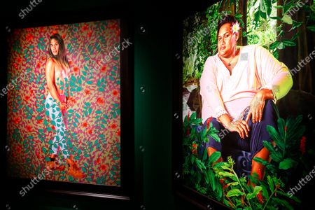 Artworks by US artist Kehinde Wiley are displayed in the exhibition 'Painter of the Epic' at the Malmaison museum in Cannes, southern France, 15 July 2020.