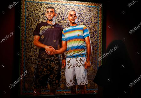 Stock Photo of An artwork by US artist Kehinde Wiley is displayed in the exhibition 'Painter of the Epic' at the Malmaison museum in Cannes, southern France, 15 July 2020.