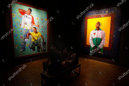Stock Picture of Artworks by US artist Kehinde Wiley are displayed in the exhibition 'Painter of the Epic' at the Malmaison museum in Cannes, southern France, 15 July 2020.