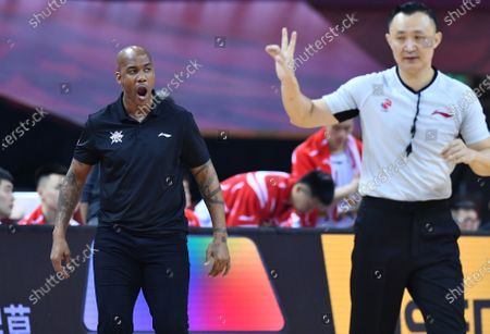 Stock Picture of Stephon Marbury (L), head coach of Beijing Royal Fighters, reacts during a match between Beijing Royal Fighters and Xinjiang Flying Tigers at the 2019-2020 Chinese Basketball Association (CBA) league in Qingdao, east China's Shandong Province, July 15, 2020.