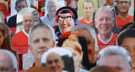 Fans in poster form in the Brian Clough stand including Buzz Lightyear