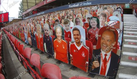 Fans in poster form in the Brian Clough stand