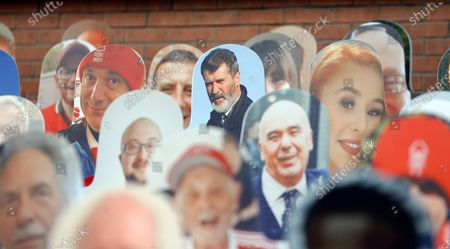 Fans in poster form in the Brian Clough stand including Roy Keane