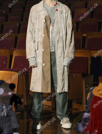 Stock Image of A Model wearing an outfit from the Menswear collections, summer 2021, original creation, from the house of Maison Mihara Yasuhiro