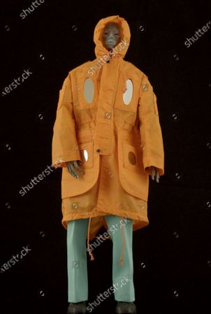 Stock Image of A Model wearing an outfit from the Menswear collections, summer 2021, original creation, from the house of Walter Van Beirendonck