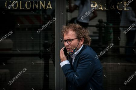 Stock Photo of ROME ITALY - JULY 15 Luca Lotti MP of the Democratic Party , near Palazzo Montecitorio, seat of the Chamber of Deputies  on July 15, 2020 in Rome , Italy.