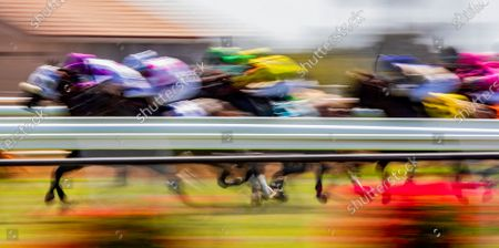 Stock Image of , 2020, Del Mar, CA, USA: Horses race over the Jimmy Durante Turf Cours at Del Mar Race Track in Del Mar, California on , 2020. The legendary racetrack dubbed Where The Surf Meets The Turf is facing a temporary suspension of racing after 15 jockeys tested positive for coronavirus this week. Alex Evers/Eclipse Sportswire/CSM