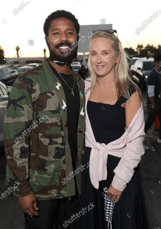 """Michael B. Jordan and Amazon Studios Jennifer Salke attend """"A Night at the Drive-In"""" hosted by Amazon Studios and Michael B. Jordan's Outlier Society featuring Black Panther and Creed at the Paramount Drive-In in Los Angeles."""