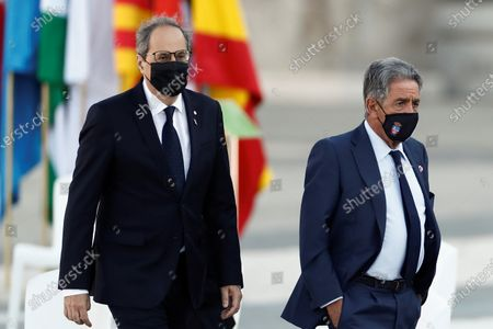 Catalan regional President Quim Torra (L) and Cantabria's counterpart Miguel Angel Revilla attend the state tribute to coronavirus disease (COVID-19) victims and people working on the front line in the fight against the pandemic, in Madrid, Spain, 16 July 2020.