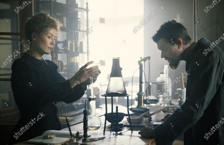 Rosamund Pike as Marie Curie and Sam Riley as Pierre Curie