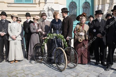 Stock Picture of Rosamund Pike as Marie Curie and Sam Riley as Pierre Curie
