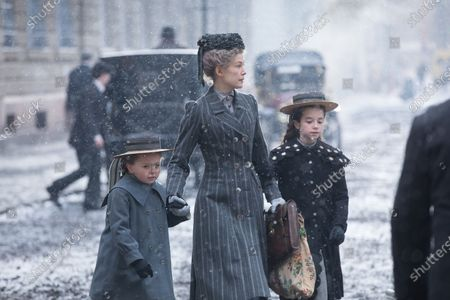 Isabella Miles as Eve Aged 4, Rosamund Pike as Marie Curie and Indica Watson as Irene Aged 6
