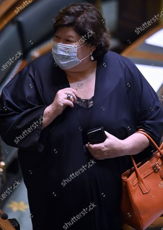 Minister of Health, Social Affairs, Asylum Policy and Migration Maggie De Block pictured wearing a mouth mask during a plenary session of the chamber at the federal parliament in Brussels, Thursday 16 July 2020.