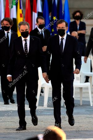 State tribute to COVID-19 victims and people working on the front line to fight the pandemic at Palacio Real. Former Spanish Prime Minister Mariano Rajoy and Jose Luis Rodriguez Zapatero (L)