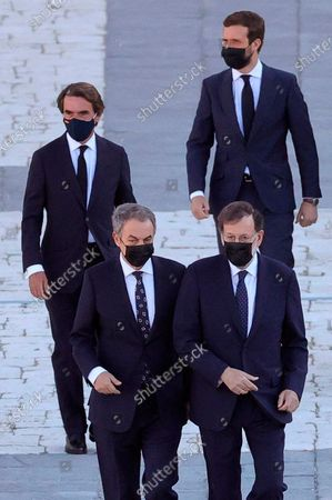 State tribute to COVID-19 victims and people working on the front line to fight the pandemic at Palacio Real. Former Spanish Prime Ministers Mariano Rajoy (CR), Jose Maria Aznar (L) andJose Luis Rodriguez zapatero (CL). President of the PP Party Pablo Casado