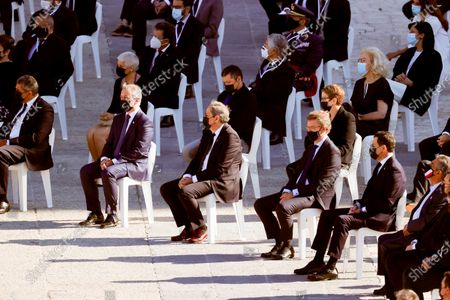 Stock Picture of State tribute to COVID-19 victims and people working on the front line to fight the pandemic at Palacio Real. Basque Country Lehendakari, Íñigo Urkullu (L), Catalonia President de la Generalitat, Joaquim Torra (2L), President of the Xunta Galia, Alberto Nuñez Feijoo (2R) and President of Andalucia, Juanma Moreno (R)